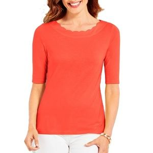 Talbots PIMA SCALLOP EDGE TEE SHIRT ORANGE XL